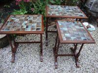 Nest Of Three,Quality Hardwood,Ceramic Tiled Tables.