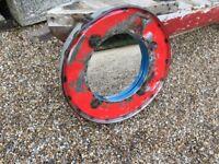 Industrial Metal Mirror in Red