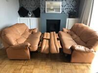 Leather reclining sofas. Two and three seaters.
