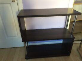 Wood and metal shelf- dark wood