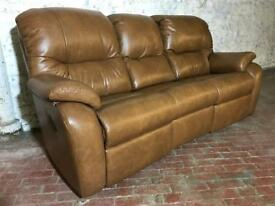 SCS GPLAN WEXCOMBE TAN BROWN REAL LEATHER 3 SEATER SOFA ELECTRIC POWER RECLINER FREE DELIVERY