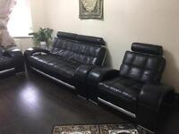 Leather sofa 3 , 2 , 1 seater and stool