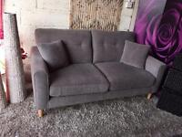 Next Grey Fabric 3 Seater Sofa with extra Side Scatter Cushions