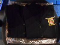 2 x NEW Gordon Schools Huntly School Cardigans - Black with School Logo