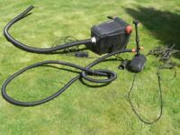Pond pump and fountain with external filter, including all pipework, cables etc