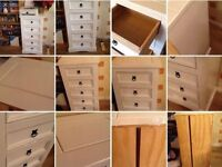 Hand Painted white Pine wood 5 drawers narrow chest about Height 105cm x Width 52cm x Depth 38 cm
