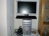 pc no hard drive + monitor