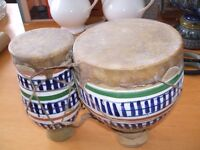 Bongos - pair of ceramic bongos with skin covers. Lovely sound and beautiful to look at.