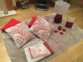 Rug, curtains, cushions, vase and lamp bundle