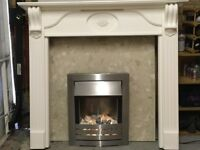 Electric fire, surround and marble back