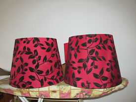 Two Large Red and Black Lamp Shades