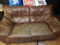 Brown leather Sofa - typical wear and tear