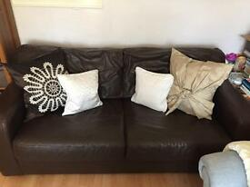 Brown Leather Sofa Bed 3 Seater FREE