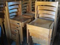 VINTAGE SOLID OAK , STACKING & COMFORTABLE DINING CHAIRS. Former church pew chairs. DELIVERY POSS