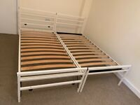 delivery 2 guest pull out trundle 2 two single double crreeaam metal bed fold legs super king
