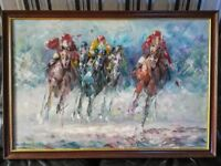 LARGE HORSE RACING OIL PAINTING ON CANVAS.