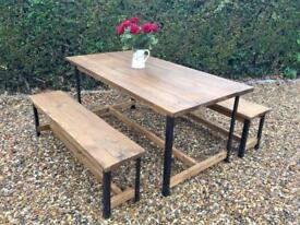 New 6ft Rustic Industrial Bench Set