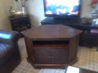 Dark wood tv corner unit in good condition