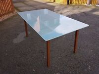 Ikea Frosted Glass & Solid Wood Dining Table FREE DELIVERY 0196