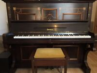 Beautiful Sames Upright Piano with Mother of Pearl Inlay