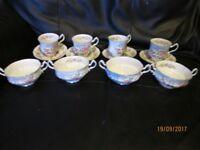 VINTAGE BONE CHINA ROYAL STANDARD MANDARIN PRINT 4 X CUPS ,SAUCERS AND BOWELS