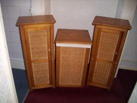 Wood and Honey Rattan three piece Set