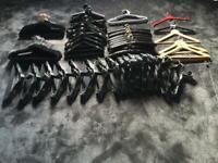 306 Pieces, Mix Black Velvet, Satin Padded, Plastic & Wooden Hangers