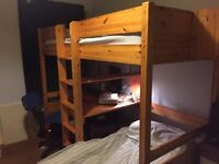 Single bed with desk and safa bed below