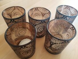 x5 Rose Gold Moroccan Hurricane Candle Holders Wedding Decorations