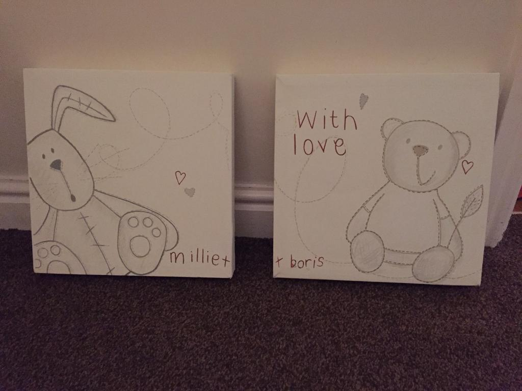 Mamas and Papas Millie & Boris canvas wall pictures