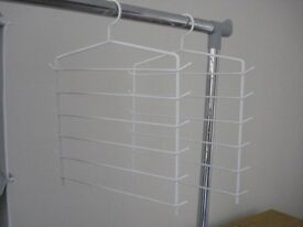 TROUSER HANGERS WARDROBE ORGANISER WHITE COVERED METAL (VGC) (collect Chelsea, SW10) (1 of 2)