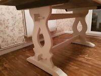 Solid oak rustic style dining table