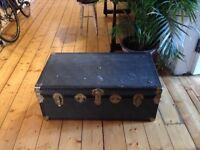 Leigh Luggage Vintage Trunk. Blue gingham interior. Looks nice, good for storage or as coffee table