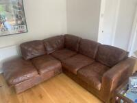 L-shaped brown leather corner sofa SOLD SOLD SOLD
