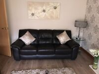 BROWN LEATHER SUITE 2&3 SEATER