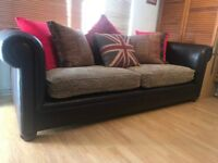 Tetrad Shackleton Grande Leather and Fabric 3 seater Sofa DELIVERY