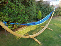 Double Cotton Hammock With Wooden Stand