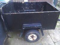 Car trailer 4feet by3feet leaf springs highe sides ideal