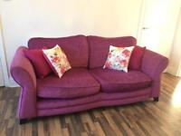 Raspberry sofa and cuddle chair for sale, great condition