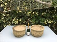 A PAIR OF VINTAGE RECONSTITUTED STONE PLANTERS, POTS, LEAF DESIGN, NICELY WEATHERED CONCRETE TUBS