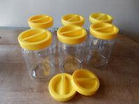 6 Vintage Habitat Glass Storage Jars - excellent condition
