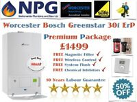 SUPPLIED & FITTED Worcester Bosch Greenstar 30i ErP Premium+Magnetic Filter+Wireless Control+Flush