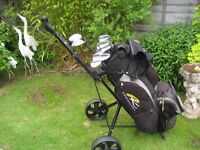 MIZUNO MP30 MENS GOLF CLUBS IN BAG WITH TROLLEY - RIGHT HAND