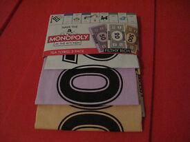 New Hasbro Monopoly Money - 3 Pack Tea Towel