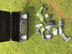 Various power and hand tools, tool boxes