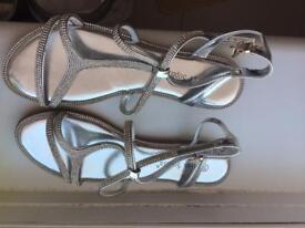 Silver sandals with stones- size 6 ( unused)