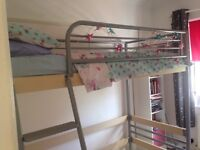 High sleeper silver metal bed frame. Single bed. High safety rail. Norwich. Used condition.