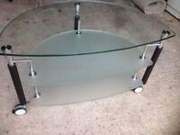TV Glass Table, 800mm x 500mm, excellent condition.