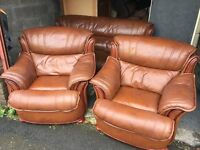 BROWN LEATHER 3 SEATER SOFA WITH 2 ARM CHAIRS,CAN DELIVER