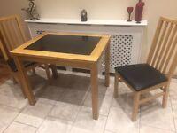 John Lewis Marble/Oak kitchen table + 2 Chairs